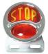 feux 3 fonctions nickelé sans éclairage de plaque - verre STOP